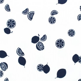 Waffle stitch cotton fabric - Lemonade - navy blue on white background x 10cm
