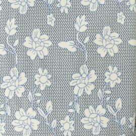 Jacquard fabric wild rose flowers - blue x 10cm