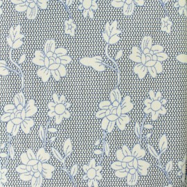 Tissu jacquard damassé fleurs d'églantier - bleu x 10cm