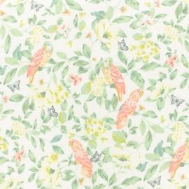 Tissu jersey Hortense et son perroquet - blanc x 10 cm