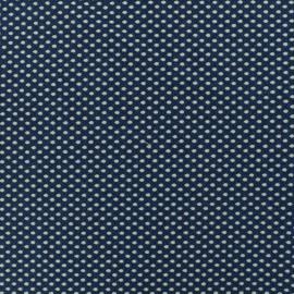 Tissu jacquard jersey damassé Dotty - bleu x 10cm