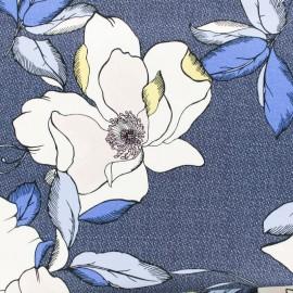 Tissu Gabardine légère Pivoines fabuleuses - rose et bleu x 30 cm