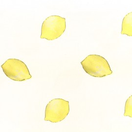 Satined cotton fabric Citronnade - yellow and white x 10cm