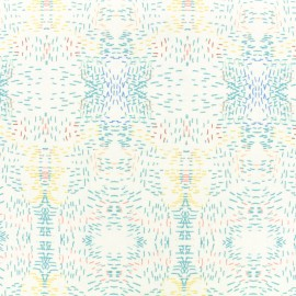 Tissu coton popeline satinée - Monet - blanc x 10cm