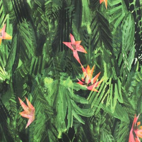 Cotton fabric satin poplin La Maison Victor - Tropical - green x 25cm