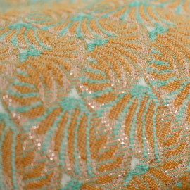Jacquard fabric India - Safran and teal x 10cm