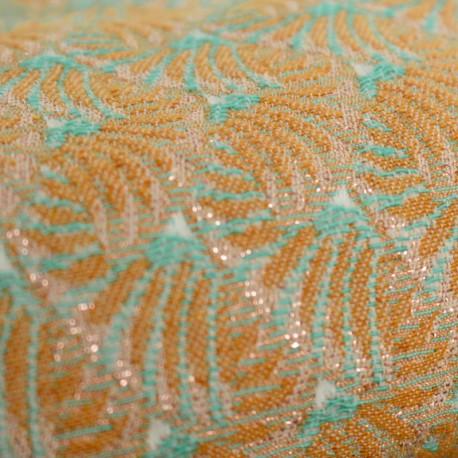 Jacquard fabric India - Safran and teal x 10cm