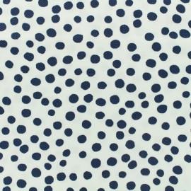 ♥ Coupon 300 cm X 135 cm ♥  Tissu piqué de coton Pepita - marine sur fond blanc