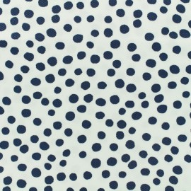 ♥ Coupon 300 cm X 135 cm ♥   Waffle stitch cotton fabric - Pepita - navy blue on white background