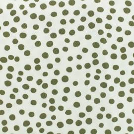 ♥ Coupon 330 cm X 135 cm ♥ Tissu piqué de coton Pepita - kaki sur fond blanc