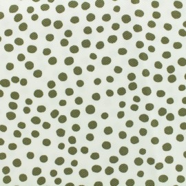 Waffle stitch cotton fabric - Pepita - khaki on white background x 10cm