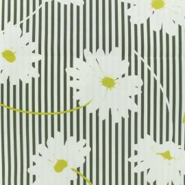 ♥ Coupon 210 cm X 135 cm ♥ Waffle stitch cotton fabric - Marguerite - khaki on white background