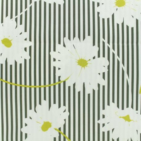 Tissu piqué de coton Marguerite - kaki sur fond blanc x 10cm