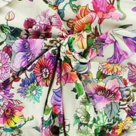 Jersey viscose Fabric - Full flowers - ecru background x 10cm
