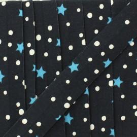 Biais jersey étoile et pois 20 mm - bleu marine x 1m