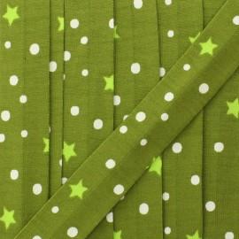 Biais jersey étoile et pois 20 mm - vert olive x 1m