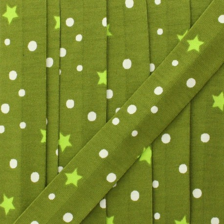 20 mm star and dot jersey bias binding - olive green x 1m