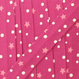 20 mm star and dot jersey bias binding - fuchsia  x 1m