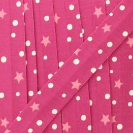 Biais jersey étoile et pois 20 mm - fuchsia  x 1m