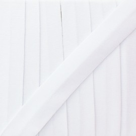 20 mm plain cotton jersey bias binding - white  x 1m