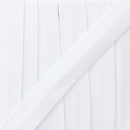 Biais jersey uni 20 mm - blanc  x 1m
