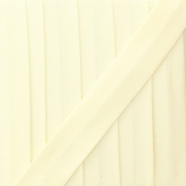 20 mm plain cotton jersey bias binding - eggshell x 1m