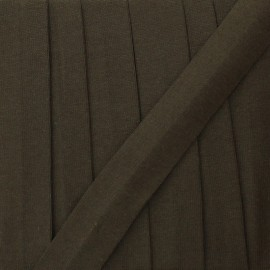 20 mm plain cotton jersey bias binding - brown x 1m