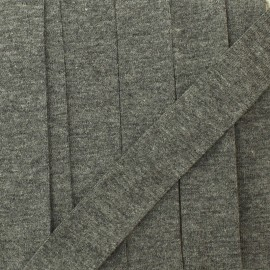 20 mm plain cotton jersey bias binding - grey rock x 1m