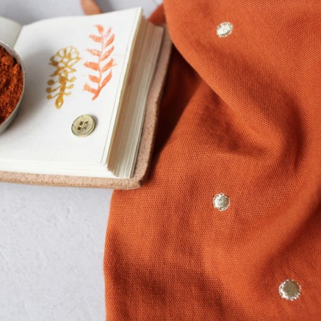 Double gauze cotton fabric Atelier brunette - Stardust Chestnut x 10cm