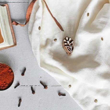 Tissu double gaze de coton Atelier Brunette - Stardust Off White x 10cm