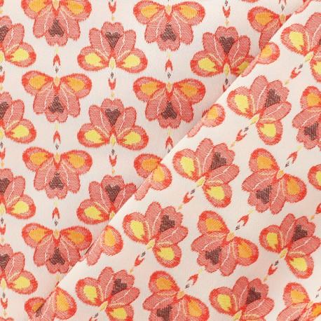 Jacquard fabric Water lily - orange x 10cm