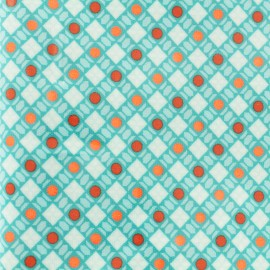 Tissu coton enduit Oeko-Tex Petit Pan Callune - turquoise x 10cm