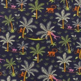Tissu cretonne  - Funny Monkeys - marine x 15cm