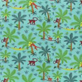 Creton fabric - Funny Monkeys - teal x 10cm