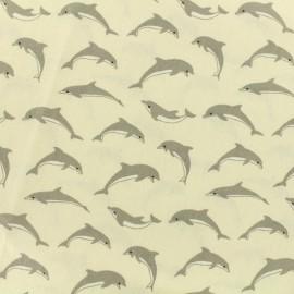 ♥ Coupon 40 cm X 160 cm ♥  Tissu cretonne - dauphins - ivoire
