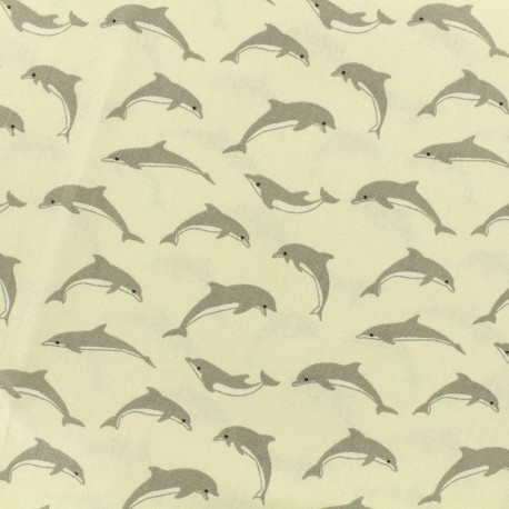 Tissu cretonne  - dauphins - ivoire x 10cm
