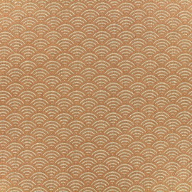 Tissu toile de lin  - sushis - cuivre x 10cm