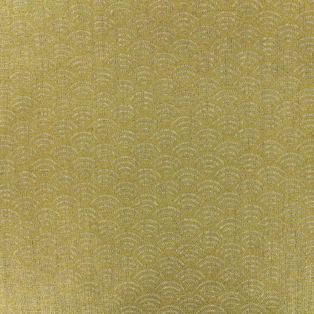 Tissu toile de lin  - sushis - or x 10cm