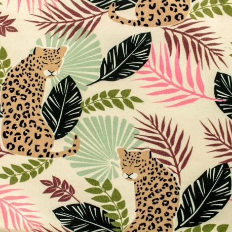 Tissu sweat léger Puma - ecru x 15cm