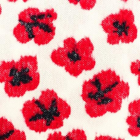 Tissu Maille légère Japanese poppy - rouge/blanc x 10cm