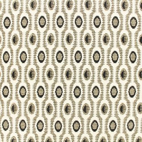 Tissu Maille légère lurex - Art déco - or/noir/blanc x 10cm