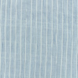 Cotton voile Fabric stripes - blue x 10cm