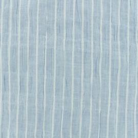 Tissu voile de coton rayures - bleu x 10cm