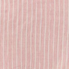 Tissu voile de coton rayures - rose x 10cm