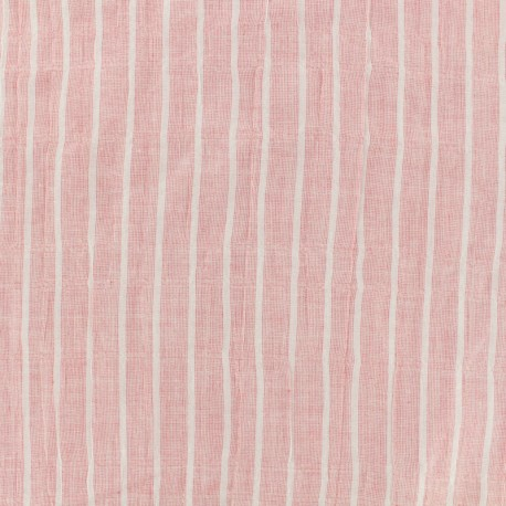 Cotton voile Fabric stripes - pink x 10cm
