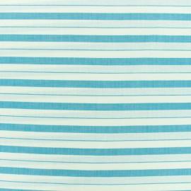 Tissu coton viscose rayures - bleu x 10cm