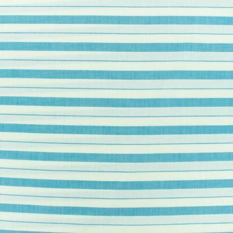 Cotton viscose Fabric stripes - blue x 10cm