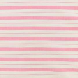 ♥ Coupon 230 cm X 160 cm ♥  Cotton viscose Fabric stripes - pink