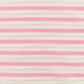 Tissu coton viscose rayures - rose x 10cm