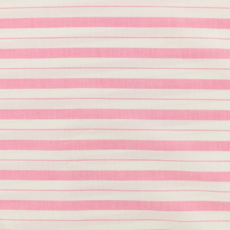 Cotton viscose Fabric stripes - pink x 10cm
